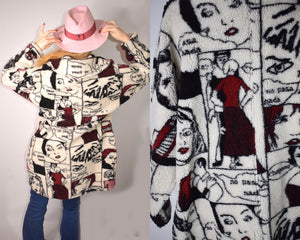90s Vintage Novelty Print Coat with Cartoon Faces