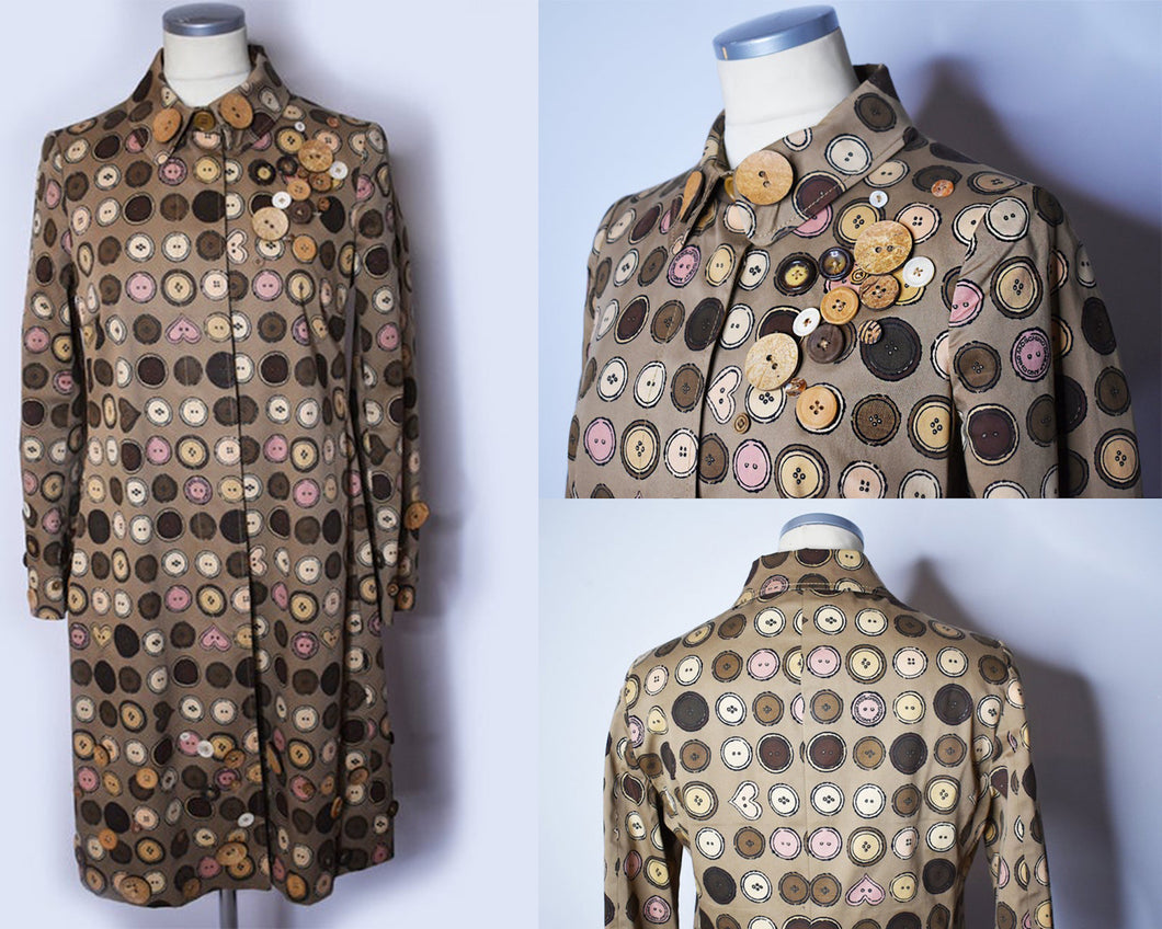 90s Vintage Moschino Cheap and Chic Button Novelty Print Coat, Size 8
