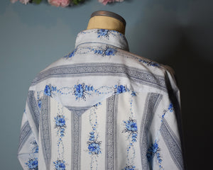 90s Vintage Western Shirt Mens with Pearl Snap Buttons, MEDIUM-LARGE