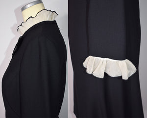 1970s Vintage Black and White Dress With Oversize Bow Ruffle Neckline Ruffle Sleeves by Abe Schrader