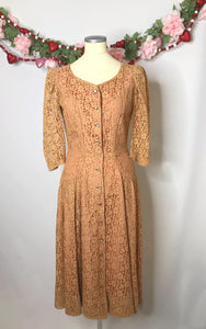 UNREAL Vintage 1940s Lace Dress With Pink Satin Lining and Rhinestone Buttons-Quinby Vintage