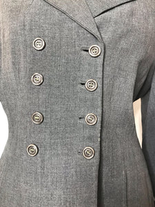 True Vintage Gray 1940s Suit Jacket/Womens Blazer with Black Velvet Collar and Cuffs