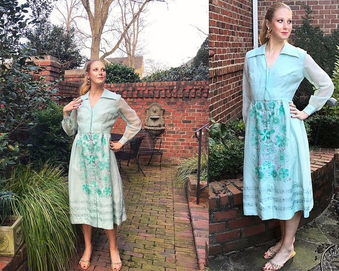 Vintage 70s Alfred Shaheen Dress, LARGE