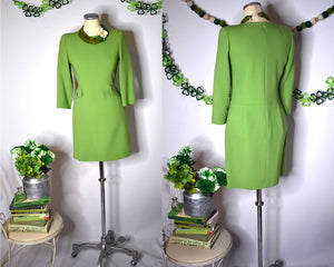 True Vintage 1980s Lime Green Wiggle Dress with Pockets by Noriko Maeda, MEDIUM