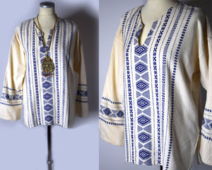 1960s Vintage Embroidered Folk Peasant Blouse - Unisex L/XL