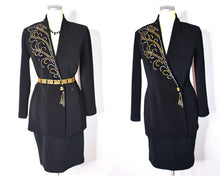 Load image into Gallery viewer, Vintage 80s Tadashi Skirt Suit Silver and Gold Beaded/Embellished Tadashi Shoji Women's Suit