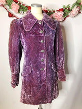 Load image into Gallery viewer, 1970s Vintage Purple Crushed Velvet Rockstar Coat/Jacket A La Stevie Nicks and Lenny Kravtiz