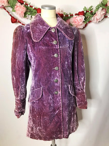 1970s Vintage Purple Crushed Velvet Rockstar Coat/Jacket A La Stevie Nicks and Lenny Kravtiz