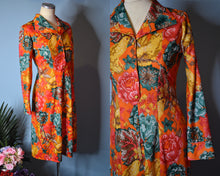 Load image into Gallery viewer, Vintage 1970s Pixelated Floral Dress, MEDIUM