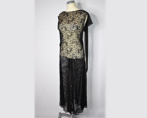 Pristine True Vintage 1920s Black Lace Gown, Sheer, Gatsby Flapper Dress