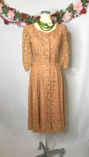 Load image into Gallery viewer, UNREAL Vintage 1940s Lace Dress With Pink Satin Lining and Rhinestone Buttons-Quinby Vintage