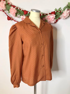 70s Vintage Givenchy Blouse with Polka Dots and Peter Pan Collar