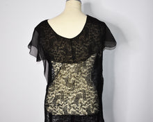 Load image into Gallery viewer, Pristine True Vintage 1920s Black Lace Gown, Sheer, Gatsby Flapper Dress