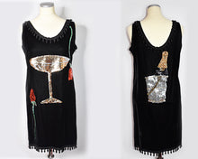 Load image into Gallery viewer, 1980s Vintage Velvet Sequin Champagne Glass Roses Champagne Bottle Dress