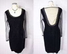 Load image into Gallery viewer, Vintage Style Black Velvet Mini Dress With Braided Neckline Sheer Sleeves and Sheer Back