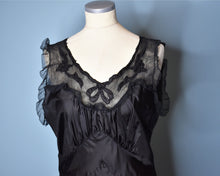 Load image into Gallery viewer, Vintage 1940s Long Black Satin Nightgown, Medium