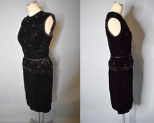 Load image into Gallery viewer, Vintage 1960s Union Made Black Velvet Beaded Dress, MEDIUM