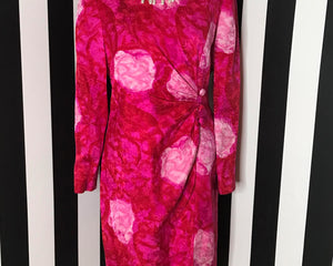 Vintage 80s Floral Silk Cocktail Dress by David Hayes for Neiman Marcus, LARGE