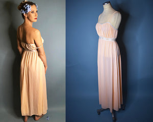 1970s Vintage Olga Nightgown Pastel Pink and Lace, LARGE
