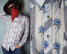 Load image into Gallery viewer, 90s Vintage Western Shirt Mens with Pearl Snap Buttons, MEDIUM-LARGE