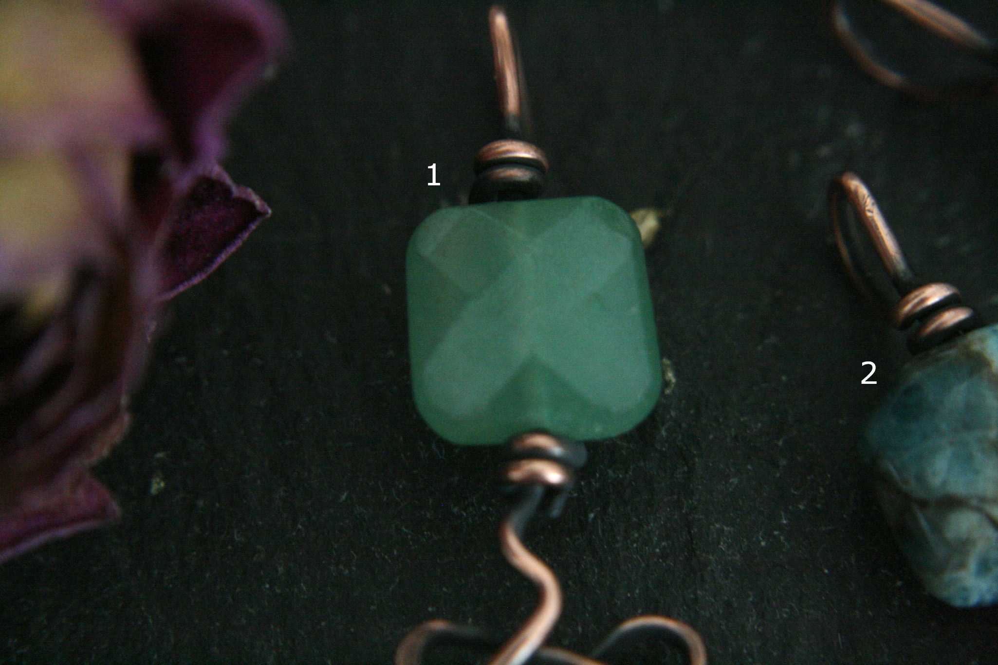 Antiqued Copper Unalome Pendant with Green Gemstone