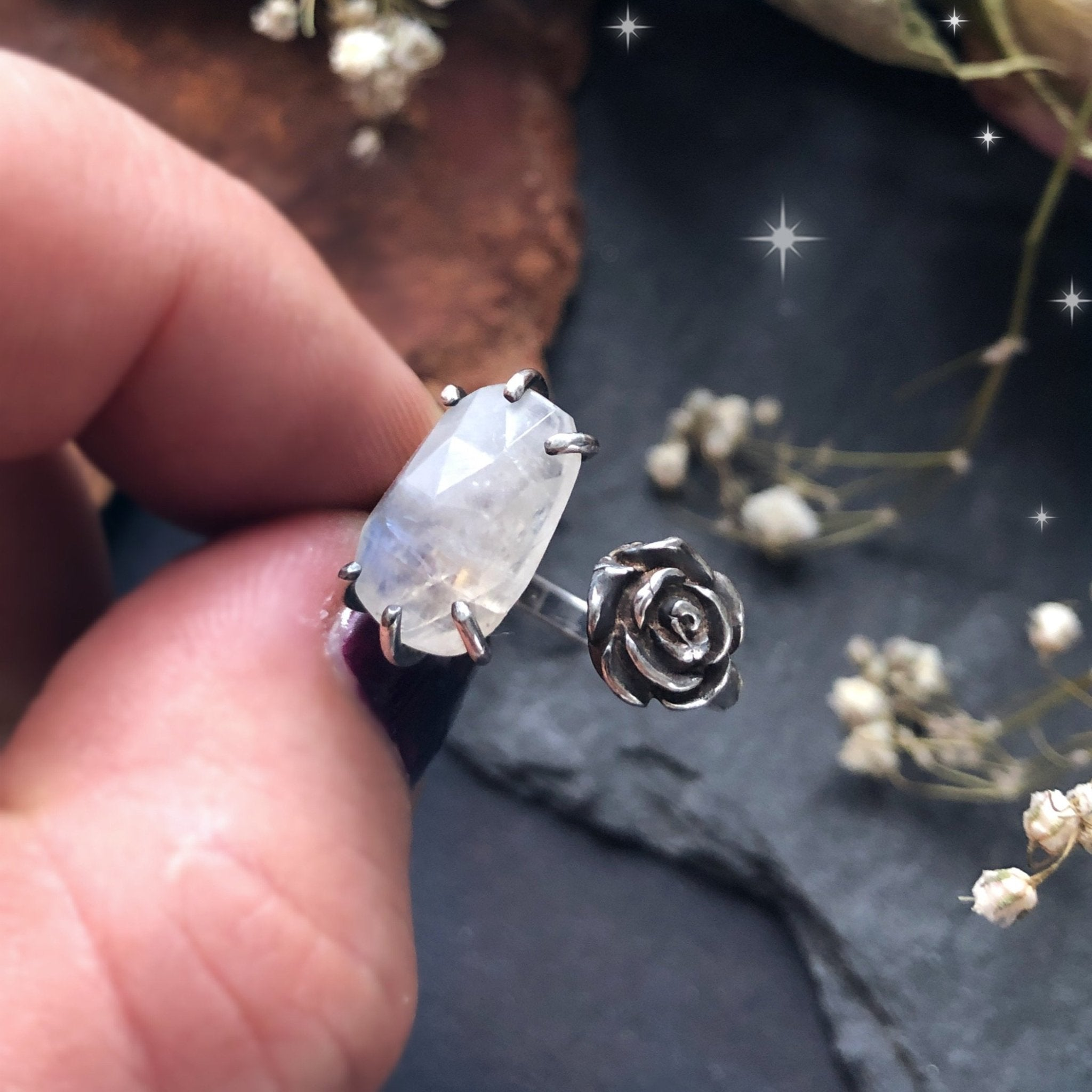 Adjustable Silver Moonstone & Rose Ring - Andune Jewellery