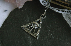 All Seeing Eye Necklace with Opal - Andune Jewellery