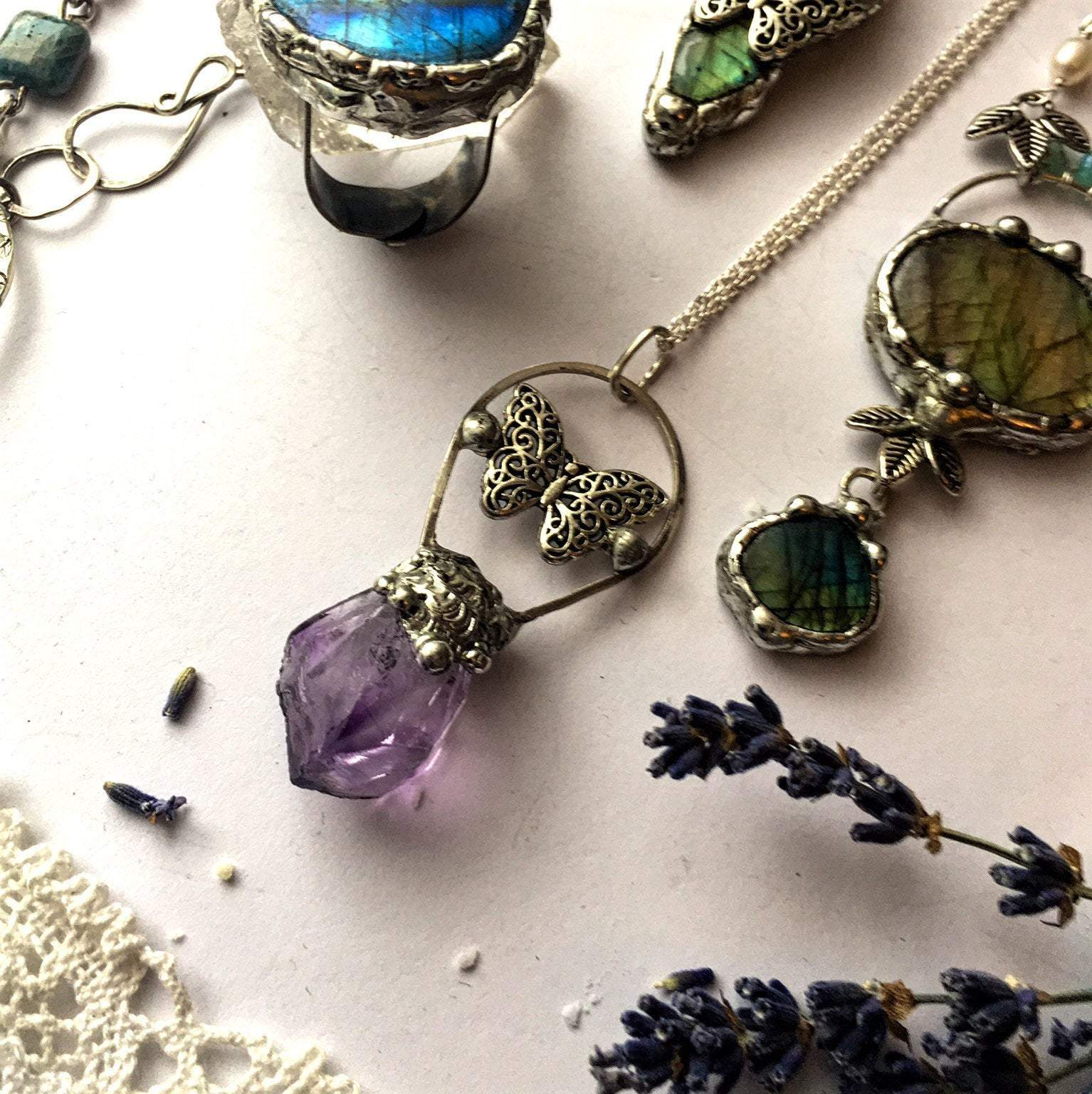 Amethyst Crystal Necklace with Butterfly Charm - Andune Jewellery