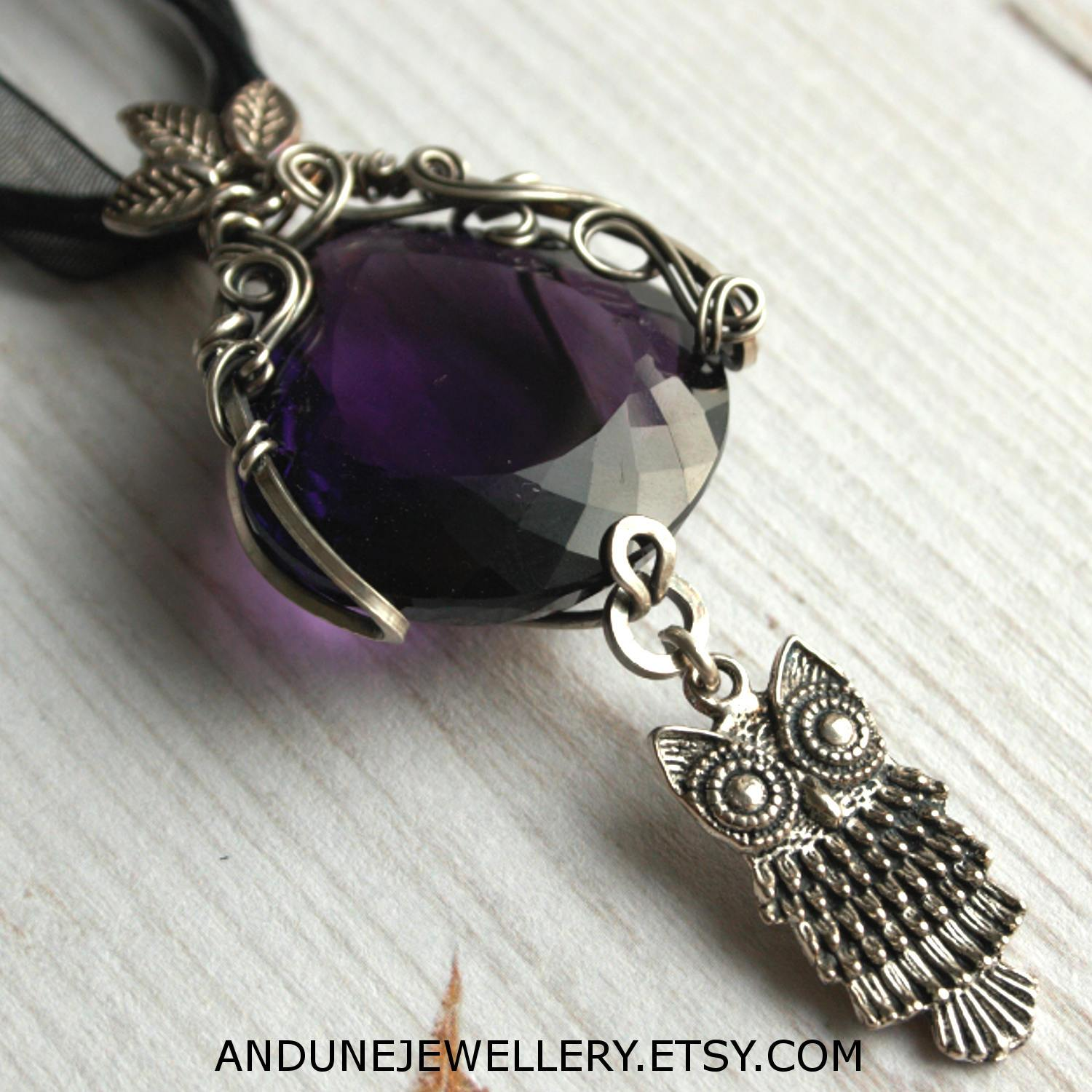 Amethyst Necklace with Owl Charm - Andune Jewellery