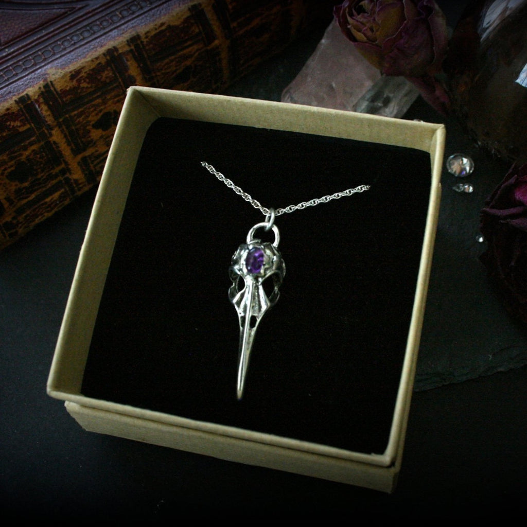 Bird Skull Necklace with Amethyst Gemstone - Andune Jewellery