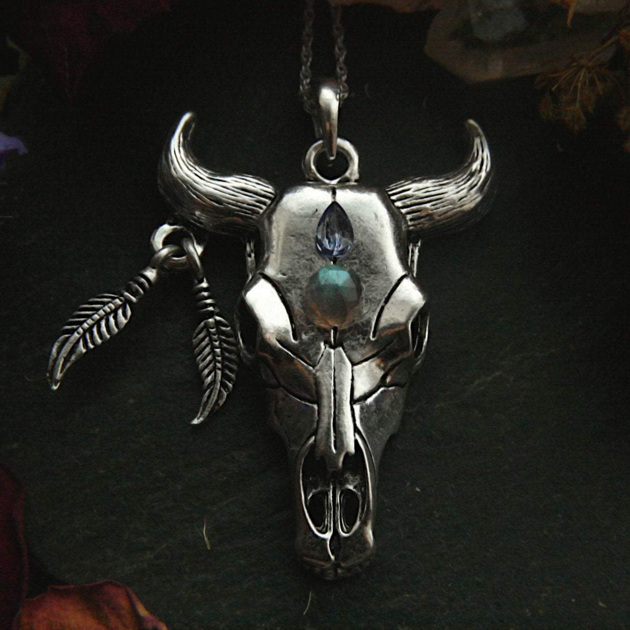Cattle Skull Necklace with Gemstones - Andune Jewellery
