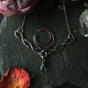 Celtic Knot Moon Necklace with Aquamarine - Andune Jewellery