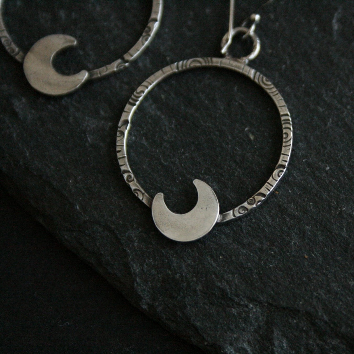 Cloudy Moon Stamped Hoop Earrings - Andune Jewellery