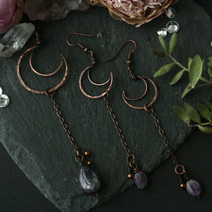 Copper Crescent Moon Necklace and Earrings Set - Andune Jewellery