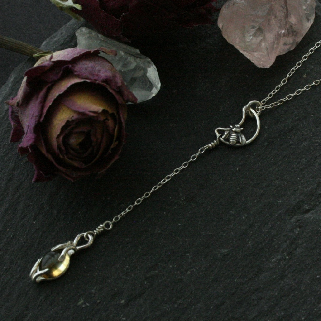 Dainty Citrine Bee on the Moon Lariat Necklace - Andune Jewellery