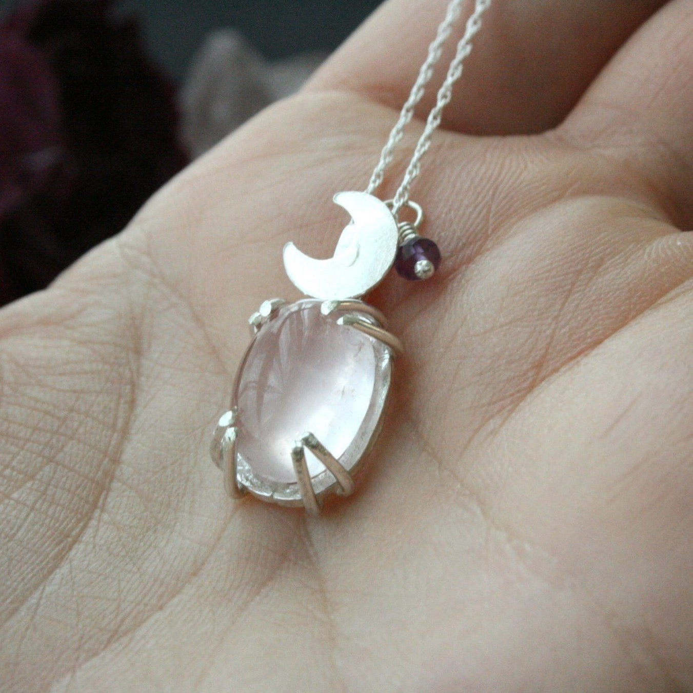 Dainty Rose Quartz Moon Necklace - Andune Jewellery