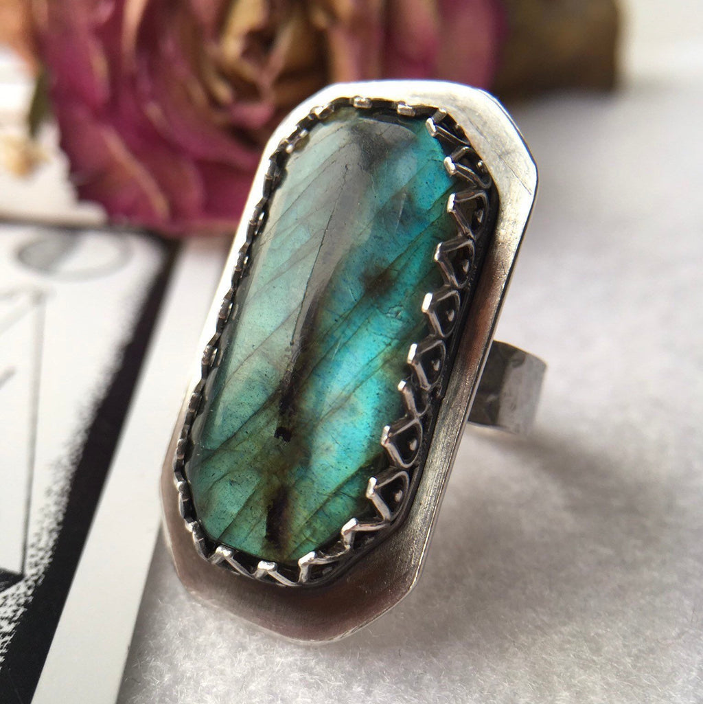 Dragons Eye Labradorite Ring, Adjustable - Andune Jewellery