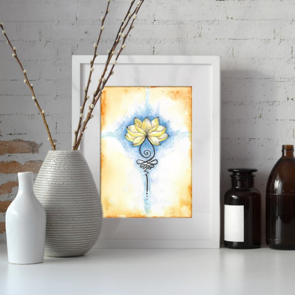 Golden Lotus Flower & Unalome Original Watercolour Painting A4 - Andune Jewellery
