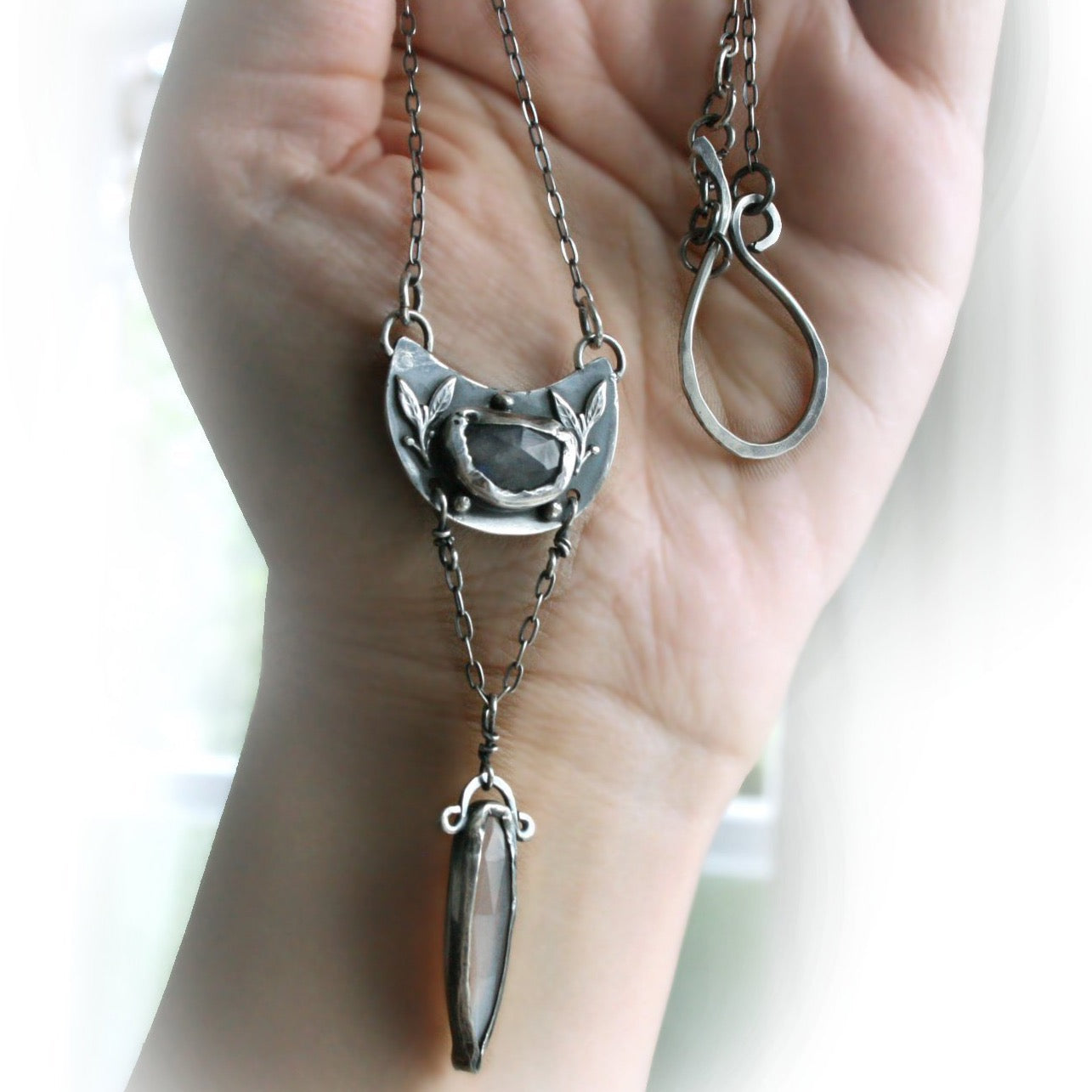 Gothic Lariat Necklace with Moonstone - Andune Jewellery