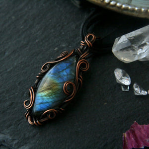 Marquise Labradorite Pendant in Wire Wrapped Copper - Andune Jewellery