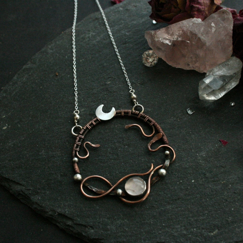 Midnight Medusa - Copper & 925 Silver Rose Quartz Necklace - Andune Jewellery