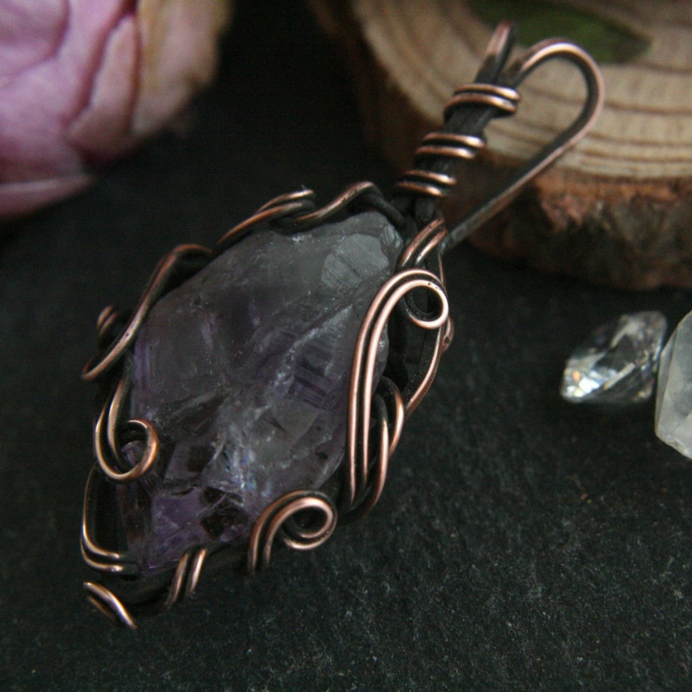 Raw Amethyst Crystal Necklace in Copper - Andune Jewellery
