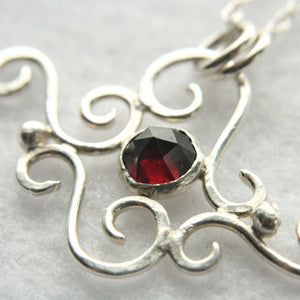 Silver Cloud Necklace with Red Garnet - Andune Jewellery