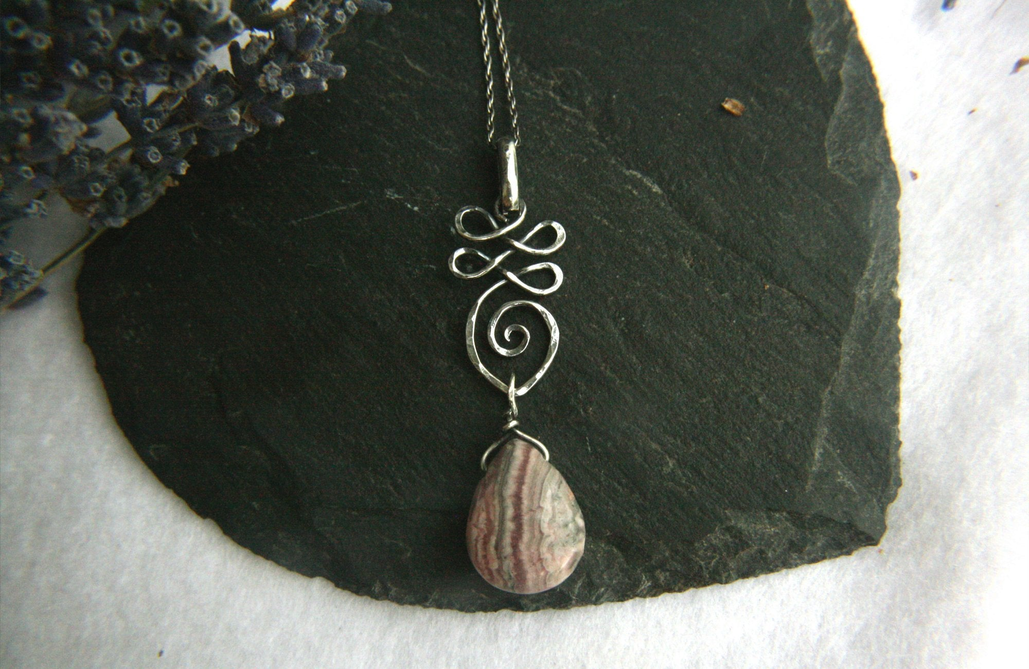 Silver Unalome Necklace with Rhodochrosite - Andune Jewellery