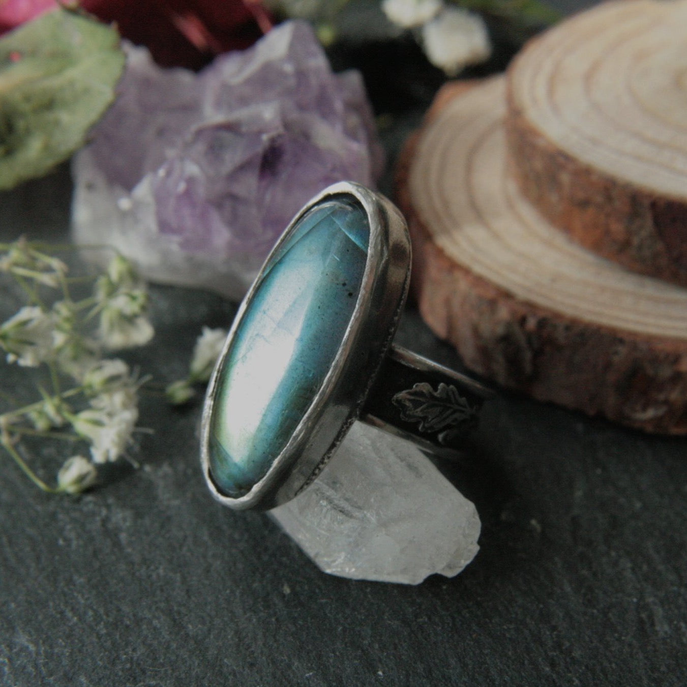 Size O Labradorite Ring with Oak Leaves (US 7.5) - Andune Jewellery