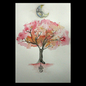 Tree, Crescent Moon, & Unalome Original Watercolour Painting A4 - Andune Jewellery