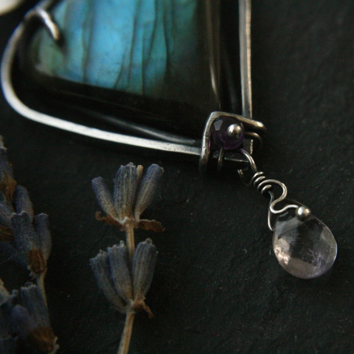 Triple Moon Crown Chakra Labradorite Necklace - Andune Jewellery