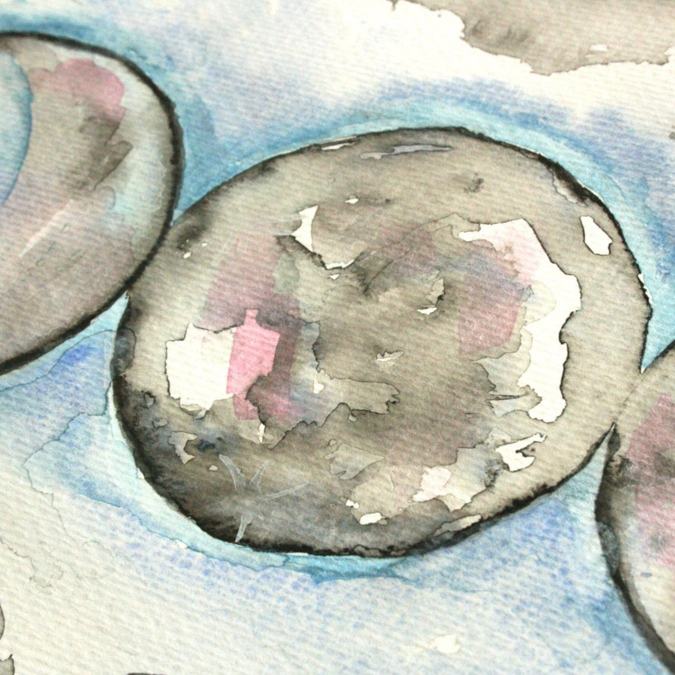 Triple Moon. Moon Phase Original Watercolour Painting A4 - Andune Jewellery
