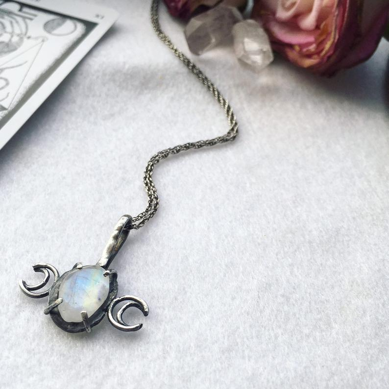 Triple Moon Moonstone Pendant - Andune Jewellery
