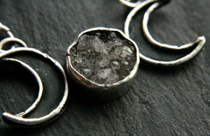 Triple Moon Necklace with Diamond Druzy - Andune Jewellery
